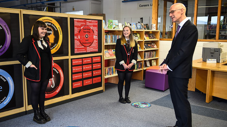 Results day visit from Deputy First Minister