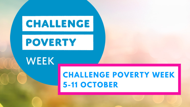 This image shows the blue Challenge Poverty Week logo and on blue writing in a white box carries the information Challenge Poverty Week 5 to eleven October