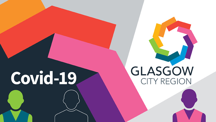 The picture shows the Glasgow City Region City Deal logo along with the words Covid-19