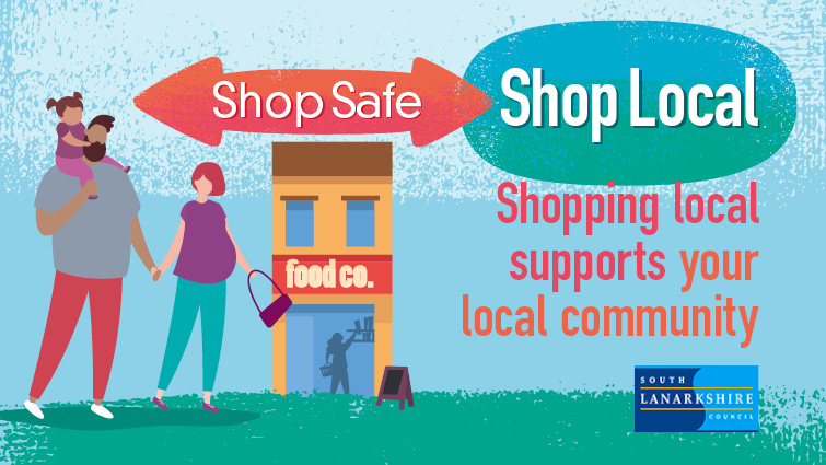 Graphic showing a family shopping with the words Shop Safe Shop Local. Shopping local supports your local community