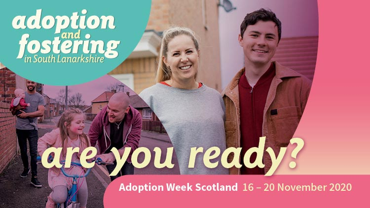 This image shows a graphic of two couples, one with children, and the text asks Are You Ready as part of the council's Fostering and Adoption campaign