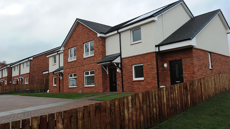New build homes like this new terraced block will create opportunities for council tenants in Hamilton and Strathaven.