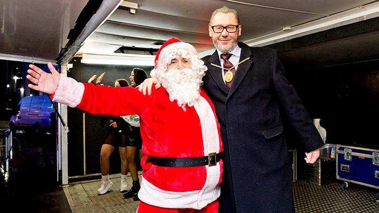 Santa with South Lanarkshire Provost Ian McAllan.