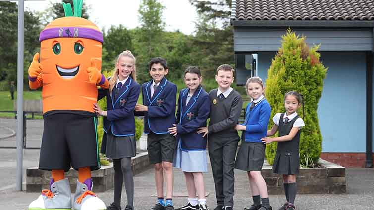 Popular food characters visits South Lanarkshire primary schools for promote healthy eating.