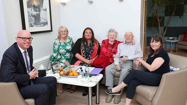 Minister for Mental Health Clare Haughey and Paul edie, Chair of the Care Inspectorate, met staff and residents at Rutherglen's David Walker Gardens care home.