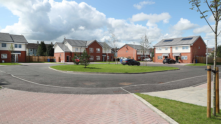 This picture is a view of some of the new council homes in Wildcherry Court which has been shortlisted for a best development award.