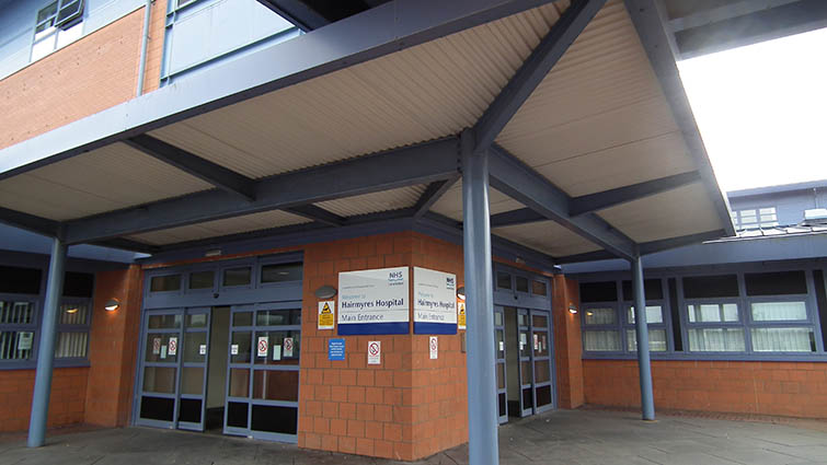 This is a photograph of the main reception door at Hairmyres Hospital in East Kilbride