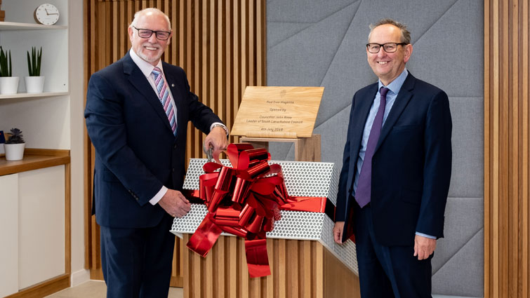 Council Leader John ross officially opens the Red Tree Magenta office development.