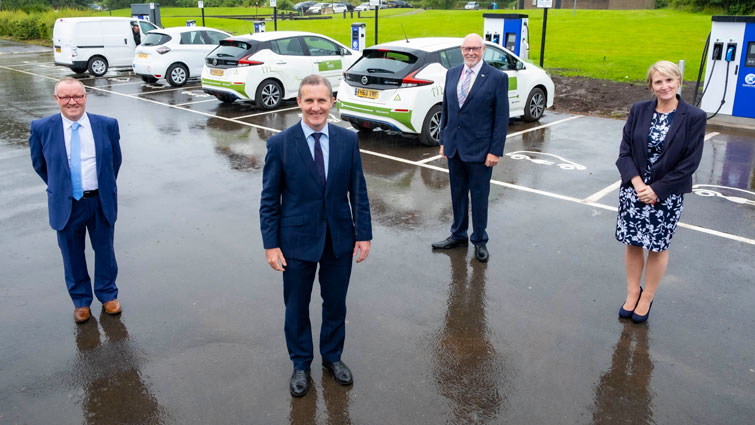 Project Pace, Electric Vehicle, electric vehicle charging points, gree, green energy, save the planet, electric car, carbon neutral, Scottish government, Michael Matheson, John Ross, NLC, SPEN, power, energy, partnership