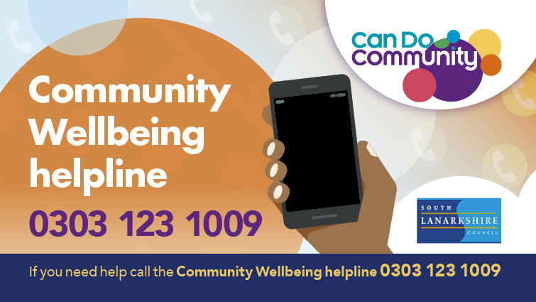 An inforgraphic which has details of the council's community wellbeing helpline