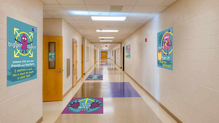 A mock-up of how schools will look with the new signage in place for pupils returning in August