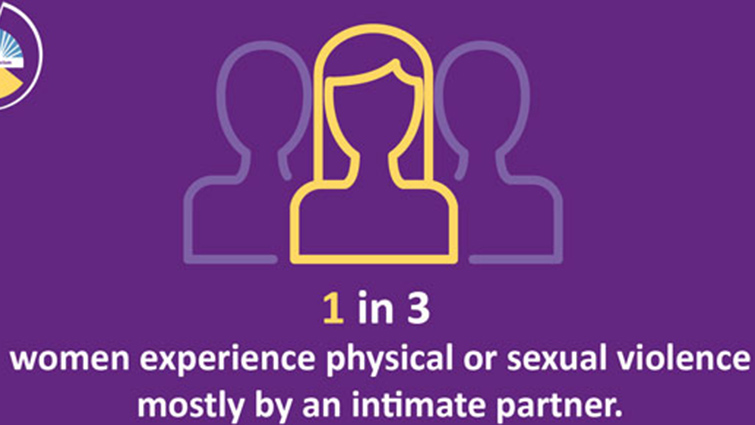 Logo depicting one in three women experience physical or sexual violence mostly by an intimate partner