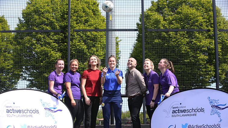 Scotland women's goalkeeper Lee Alexander with Active School staff