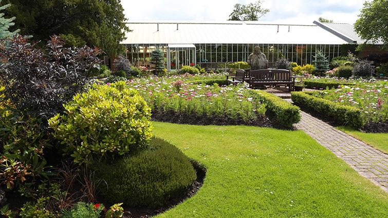 A view of the gardens outside Calderglen children's zoo in Calderglen Park, East Kilbride