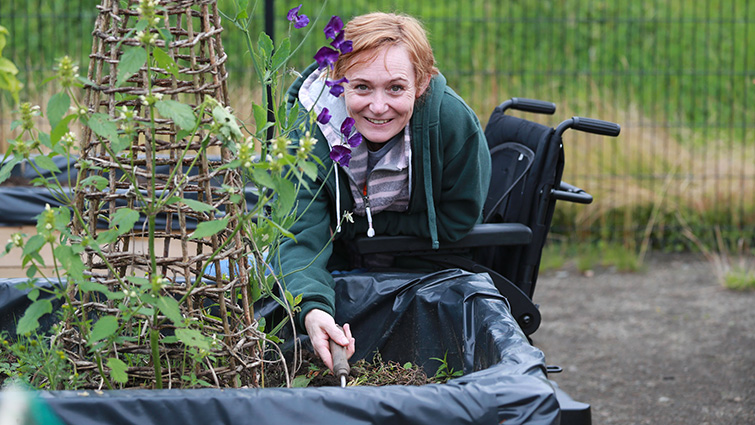 Raised beds user Amanda Barrie at her plot at Murray Recreation