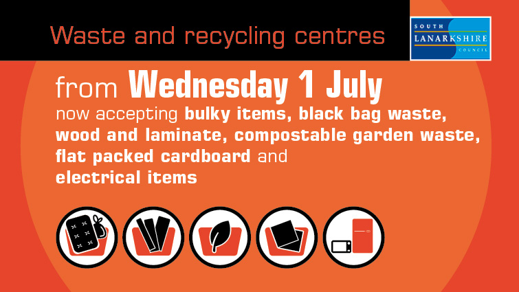 An inforgraphic which shows the new items which can now be deposited at the council household waste and recycling centres