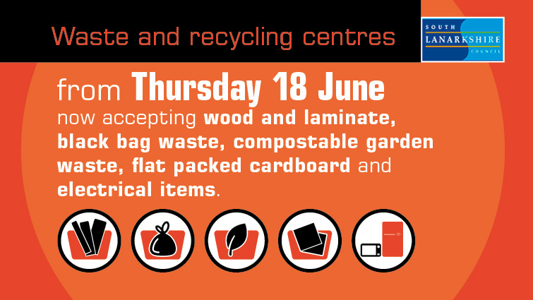 A graphic showing the goods which can now be deposited at South Lanarkshire Council's waste and recycling centres