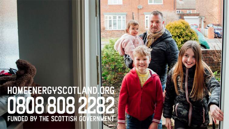 Generic pic of family with Home Energy Scotland contact telephone number