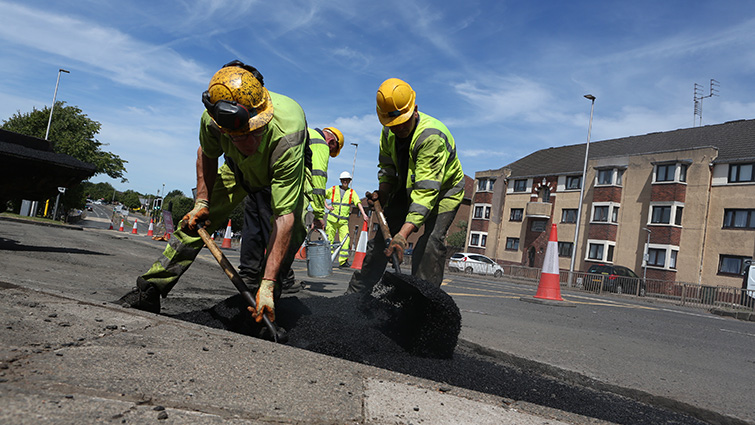 Road workers at work