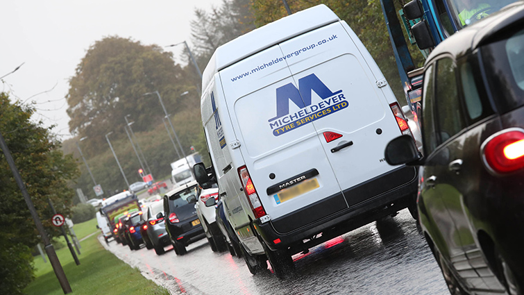 A view of a traffic jam on Stewartfield Road during a particularly congested period
