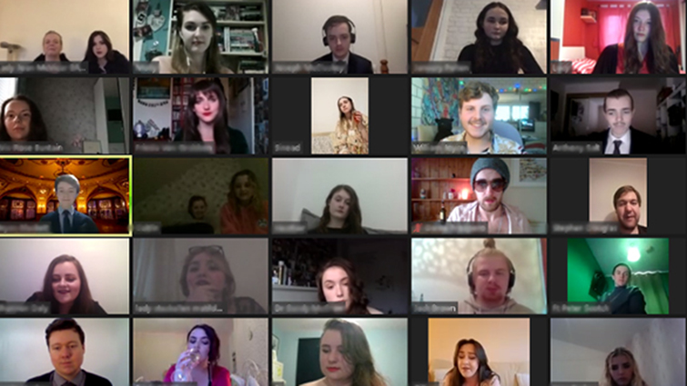 A screengrab of an online meeting featuring young people from Vertigo Youth Theatre