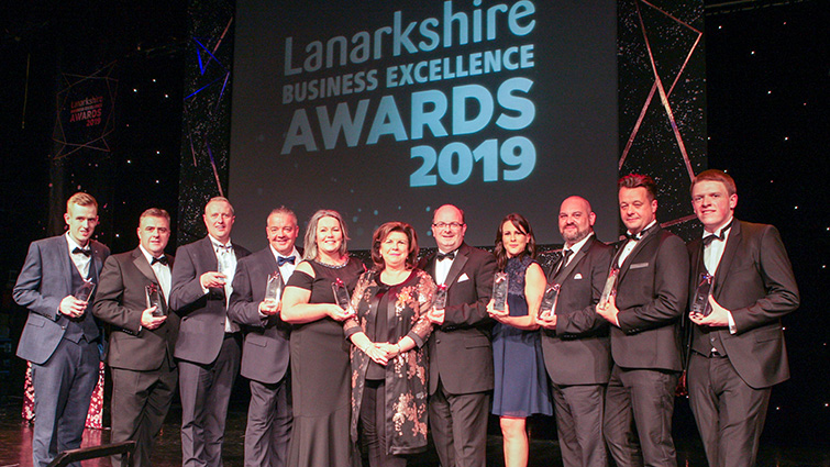 The winners on stage with Elaine C Smith