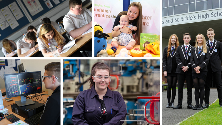 Picture shows a variety of smaller images depicting senior pupils in different roles including in school uniform, in a childcare role and sitting an exam.