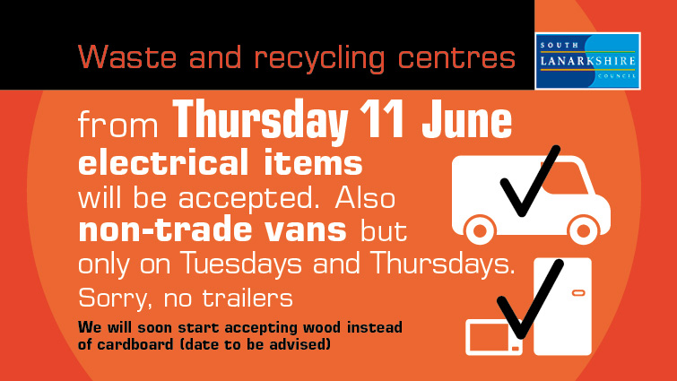 Graphic which shows changes which will come into effect at South Lanarkshire's Waste and Recycling Centres from Thursday, 11 June 2020