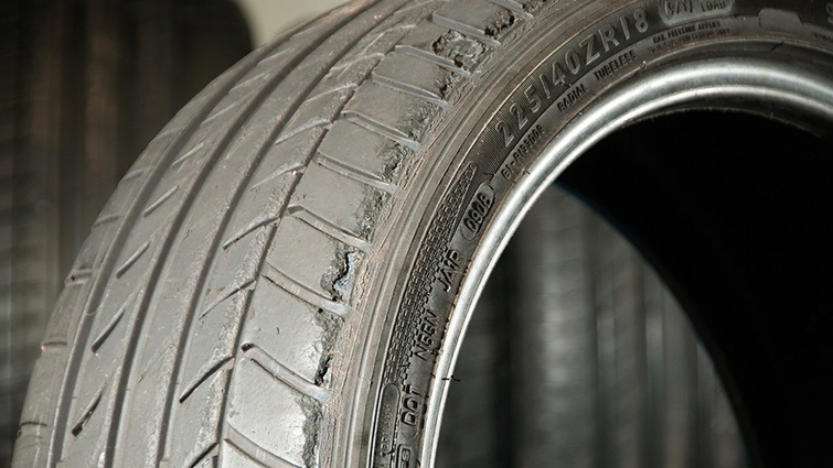 Tyres like this one, showing potentially dangerous levels of wear were seized by officers.